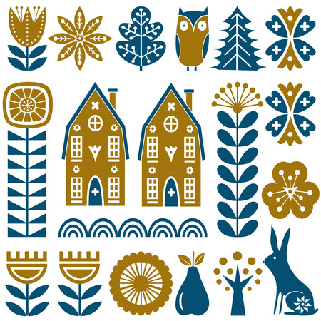 Illustration for Scandinavian folk art seamless vector pattern with gold and blue flowers, trees, rabbit, owl, houses with decorative elements and rural scenery in simple style - Royalty Free Image