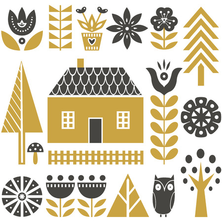 Illustration for Scandinavian folk art seamless vector pattern with grey and gold flowers, trees, mushrooms, owl, houses and rural scenery in simple style - Royalty Free Image