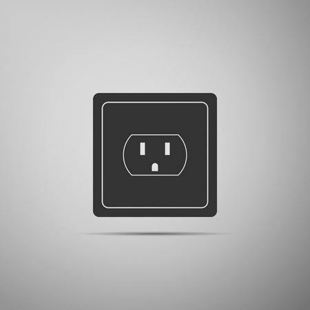 Ilustración de Electrical outlet in the USA icon isolated on grey background. Power socket  Flat design  Vector Illustration - Imagen libre de derechos