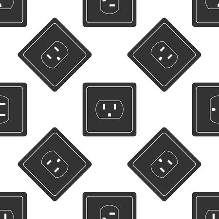Ilustración de Electrical outlet in the USA icon seamless pattern on white background. Power socket. Flat design. Vector Illustration - Imagen libre de derechos