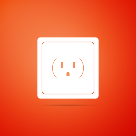 Ilustración de Electrical outlet in the USA icon isolated on orange background. Power socket. Flat design. Vector Illustration - Imagen libre de derechos