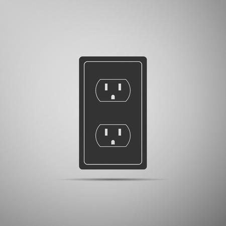 Ilustración de Electrical outlet in the USA icon isolated on grey background. Power socket. Flat design. Vector Illustration - Imagen libre de derechos