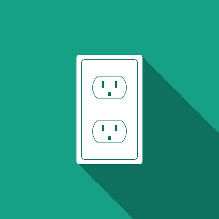 Ilustración de Electrical outlet in the USA icon isolated with long shadow. Power socket. Flat design. Vector Illustration - Imagen libre de derechos