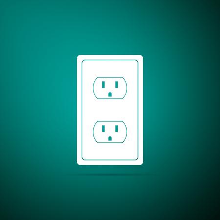 Ilustración de Electrical outlet in the USA icon isolated on green background. Power socket. Flat design. Vector Illustration - Imagen libre de derechos