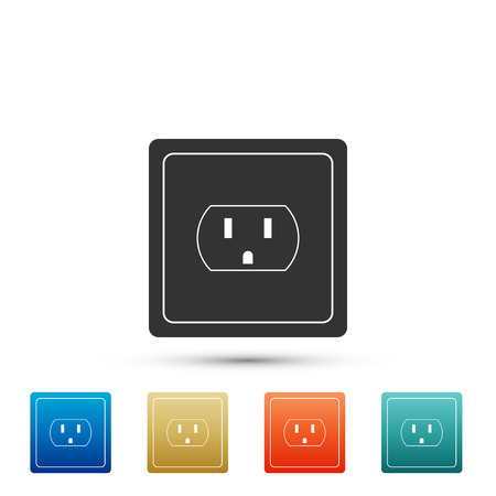 Ilustración de Electrical outlet in the USA icon isolated on white background. Power socket. Set elements in colored icons. Flat design. Vector Illustration - Imagen libre de derechos