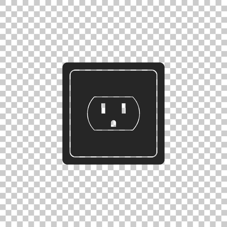 Ilustración de Electrical outlet in the USA icon isolated on transparent background. Power socket. Flat design. Vector Illustration - Imagen libre de derechos