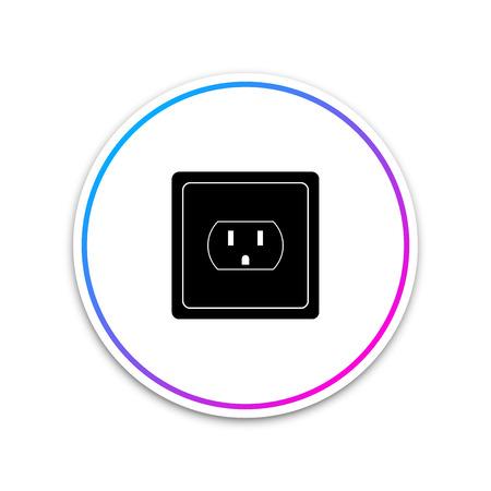 Ilustración de Electrical outlet in the USA icon isolated on white background. Power socket. Circle white button. Vector Illustration - Imagen libre de derechos