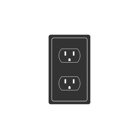 Ilustración de Electrical outlet in the USA icon isolated. Power socket. Flat design. Vector Illustration - Imagen libre de derechos