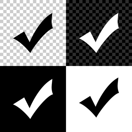Illustration pour Check mark icon isolated on black, white and transparent background. Tick symbol. Vector Illustration - image libre de droit