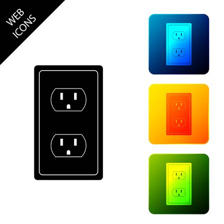 Ilustración de Electrical outlet in the USA icon isolated. Power socket. Set icons colorful square buttons. Vector Illustration - Imagen libre de derechos
