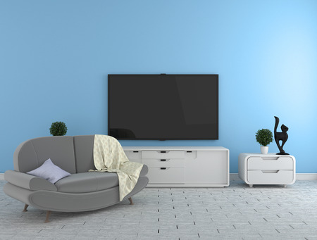 Photo pour TV on the cabinet - modern living room on blue wall background - colorful style, 3d rendering - image libre de droit