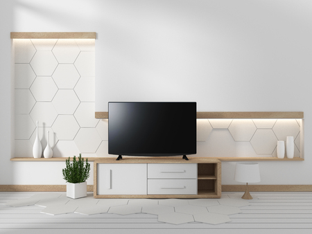 Photo pour Smart TV on the cabinet in japanese living room with plants on hexagonal wall design background,3d rendering - image libre de droit