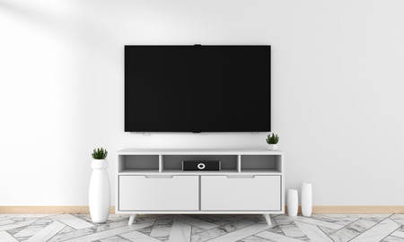 Photo pour Smart Tv Mockup with blank black screen hanging on the cabinet decor, modern living room zen style. 3d rendering - image libre de droit