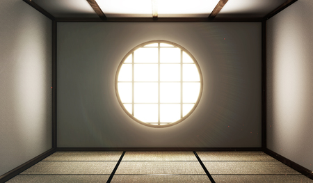 Photo pour room empty with Tatami mats and paper window on room zen style.3D rendering - image libre de droit