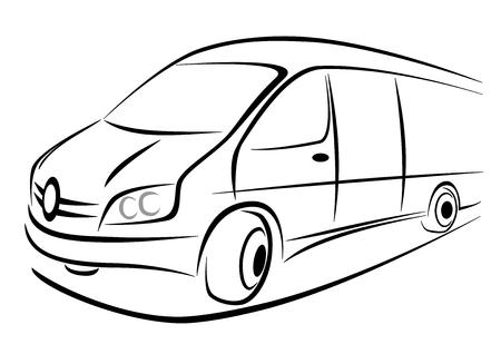 Illustration pour Design of a white van in strong perspective view - image libre de droit