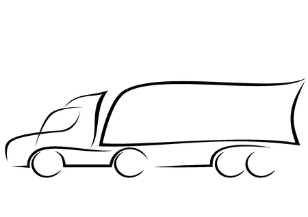 Illustration pour Line art of a truck with trailer  - image libre de droit