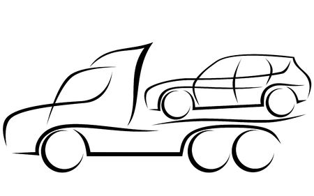 Illustrazione per Dynamic illustration of a tow truck helping to transport a damaged SUV car - Immagini Royalty Free