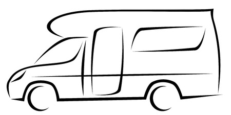 Illustration pour Dynamic vector illustration of a caravan for travellers which can be used for many adventures. The car has a modern kinetic design. - image libre de droit