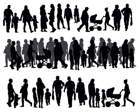 Foto de Silhouettes of people walking on the street - Imagen libre de derechos