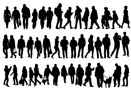 Illustration pour Silhouettes of people walking on the street - image libre de droit