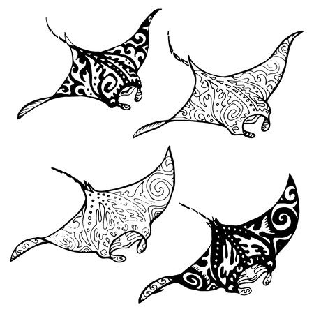 Illustration for Manta ray and fish in the sea , vector illustration - Royalty Free Image