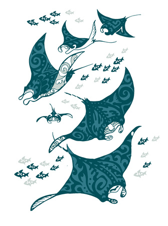 Ilustración de Manta ray and fish in the sea , vector illustration - Imagen libre de derechos