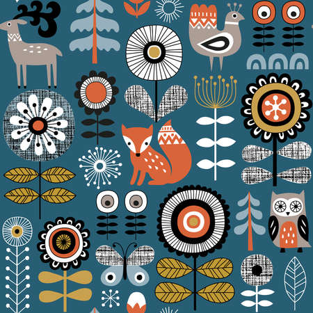 Illustration pour Hand drawn seamless vector pattern on dark blue background. Scandinavian style drawing of flowers, woodland animals and traditional motifs. Perfect for fabric, wallpaper or wrapping paper. - image libre de droit