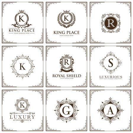 Ilustración de luxury brand set logo template Vector illustration - Imagen libre de derechos