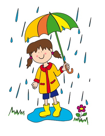 Large childlike cartoon character: little girl with a big smile holding an umbrella and playing in the rain by stepping into a puddle with her rubber boots.
