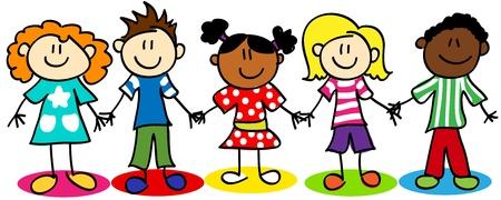 Illustration pour Fun stick figure cartoon kids, little boys and girls, ethnic diversity. - image libre de droit