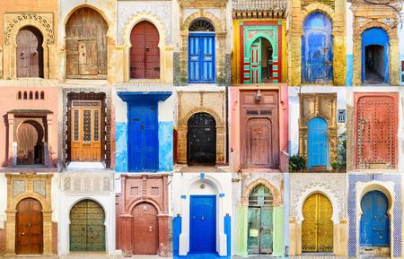 Photo pour Collage of Traditional Moroccan entry door - image libre de droit