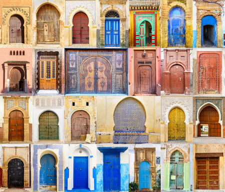Foto de Collage of Traditional Moroccan entry door - Imagen libre de derechos