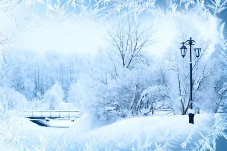 Foto de Winter background, landscape. Winter trees in wonderland. Winter scene. Christmas, New Year background - Imagen libre de derechos