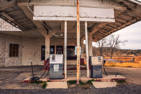 Photo for Abandoned gas station on historic Route 66 in Arizona - Royalty Free Image