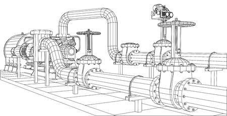 Illustration pour Wire-frame  industrial equipment oil and gas pump. Tracing illustration of 3d. EPS 10 vector format. - image libre de droit