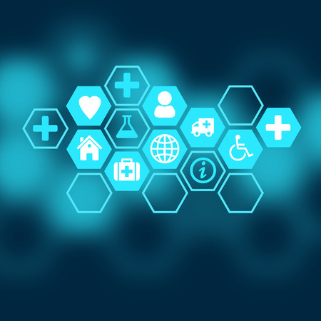 Photo for Medical background of the icons enclosed in hexagons. - Royalty Free Image