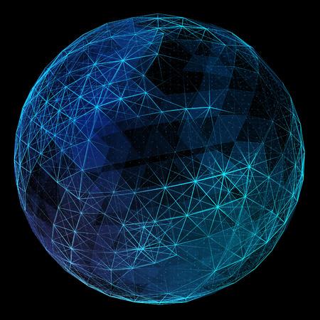 Foto de Abstract blue network globe. Technology concept of global communication. - Imagen libre de derechos