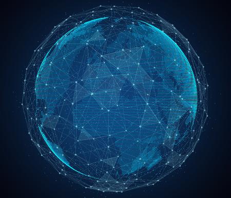 Foto de Digital design of a global network of Internet. - Imagen libre de derechos