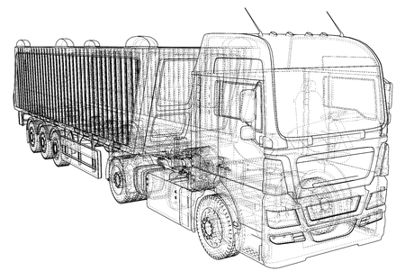 Ilustración de Dump truck vector illustration. Isolated white tipper lorry. Tracing illustration of 3d. EPS 10 vector format - Imagen libre de derechos