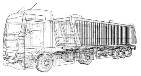 Illustration pour Vector dump truck. Tipper lorry on transparent background. racing illustration of 3d. EPS 10 vector format - image libre de droit
