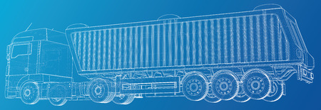 Ilustración de Semi-trailer dump truck sketch isolated on blue background. 3-axle trailer truck. Tracing illustration of 3d. EPS 10 vector format - Imagen libre de derechos
