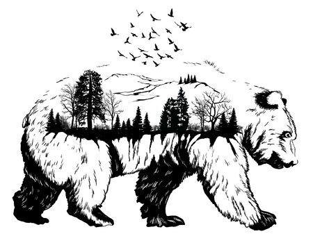 Illustration pour Double exposure, Hand drawn bear for your design, wildlife concept - image libre de droit
