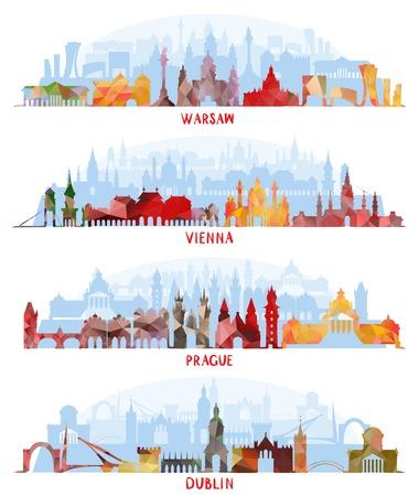 Illustration pour Cityscapes of Warsaw, Vienna, Prague, Dublin - image libre de droit