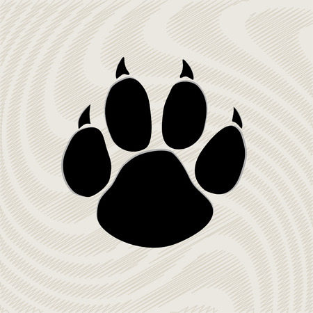 Illustration pour Black animal paw print isolated on pattern - image libre de droit