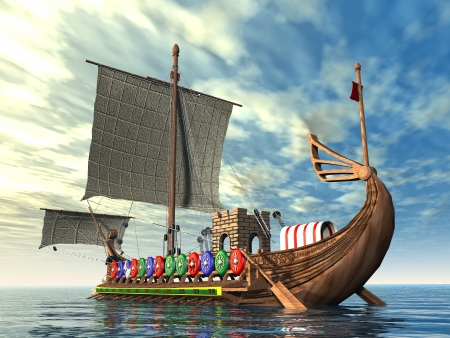 Photo for Ancient Roman Warship - Royalty Free Image