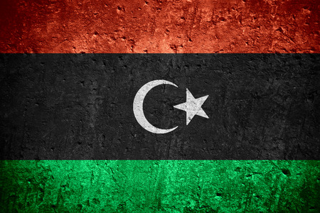 Photo for flag of Libya or Libyan flag on scratched rough texture - Royalty Free Image