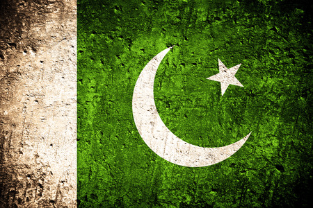 Photo for flag of Pakistan or Pakistani flag on scratched rough texture - Royalty Free Image