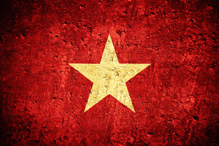 Photo for flag of Vietnam or Vietnamese flag on scratched rough texture - Royalty Free Image