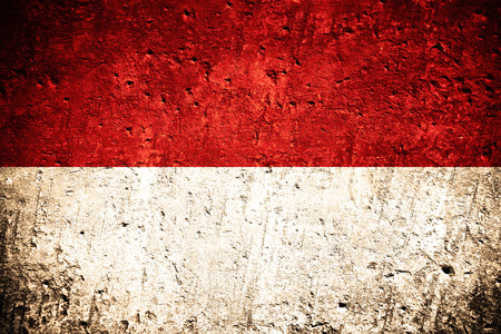 Photo for flag of Indonesia or Indonesian flag on scratched rough texture - Royalty Free Image
