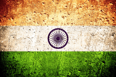 Photo for flag of India or Indian flag on scratched rough texture - Royalty Free Image